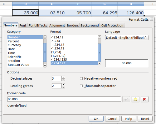 Format cells option window showing the number format with three decimal places and two leading zeroes