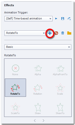 A screen capture of Captivate showing the Effects section otf the Timing tab, while an object with existing animation RotateTo is selected. Only the RotateTo icon is prominent while the rest are grayed-out. The blue plus sign is encircled in red.