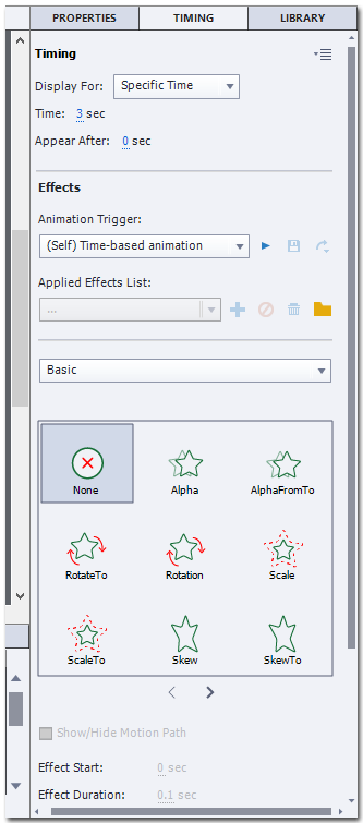 The TIMING tab of Adobe Captivate showing the Timing and Effects sections. Under the Timing sections are the differet icons for different Basic animation effects.