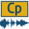 Icon for Captivate audio, a yellow rectangle with CP in the middle, and audio waves below.