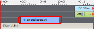 A captivate timeline showing a blue bar for a shape. The bar has speaker icon at the start, indicating that an audio is attached to it.