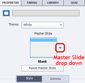 Master Slide drop down menu, a small triangle.