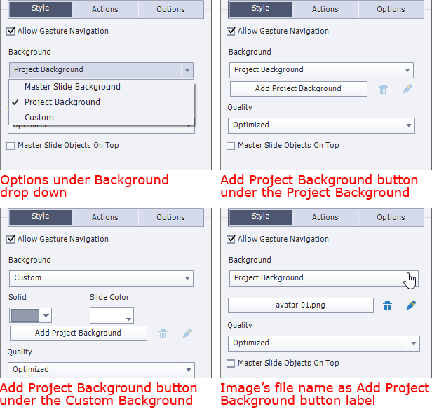 Style tab for Slide. Upper left: Options under Background drop down. Upper right: Add Project Background button under the Project Background. Bottom left: Add Project Background button under the Custom Background. Bottom right: Image's file name as Add Project Background button label.