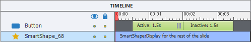 The timeline bar of a button in Captivate is green in color and is divided into two parts, active and inactive, with a narrow gray vertical line between them. The right part of the active segment also has a pause icon: two gray vertical rectangles.