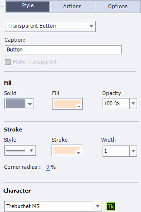 The style tab of Captivate for transparent buttons, showing various options for character or font, fill, stroke, shadow and reflection, among others.