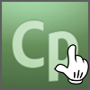Logo of Adobe Captivate on gradient green background, with a white hand/glove similar to mouse pointer superimposed on it.
