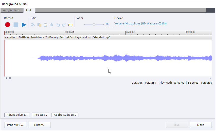 The Edit Background Audio window in Captivate, showing Add/Replace and Edit tabs, with the latter as the current tab. It has several buttons and view of audio wave.