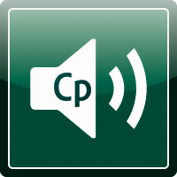 Captivate edit audio topic icon: a speaker emitting wave with CP inside.