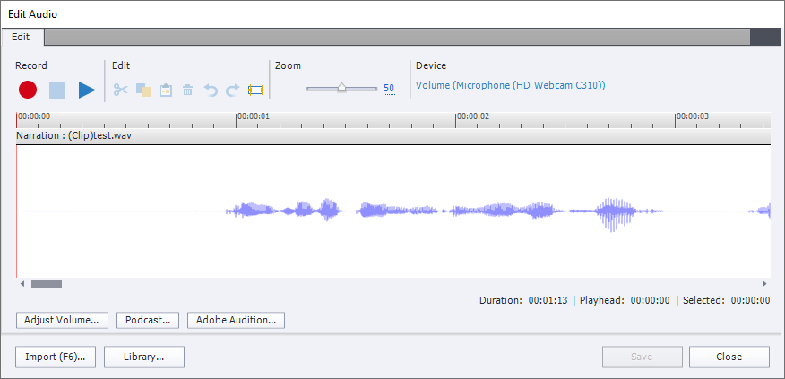 The Edit Audio window in Captivate as accessed from the Library. It has Edit tab only, which contains several buttons and view of audio wave.