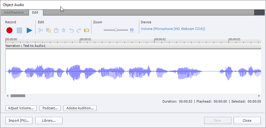 The Edit Object Audio window in Captivate, showing Add/Replace and Edit tabs, with the latter as the current tab. It has several buttons and view of audio wave.