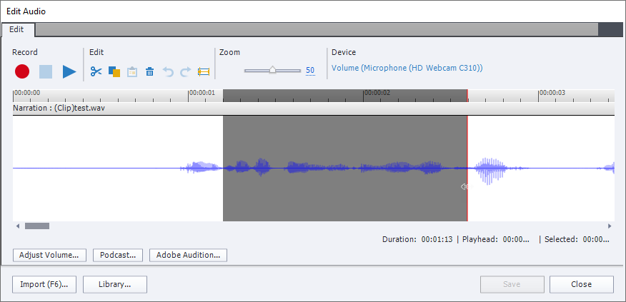 The Edit Audio window in Captivate similar to the previous ones. A part of the wave is selected, and it is highlighted by having darker background. The red playhead is on the right end of the highlighted segment.