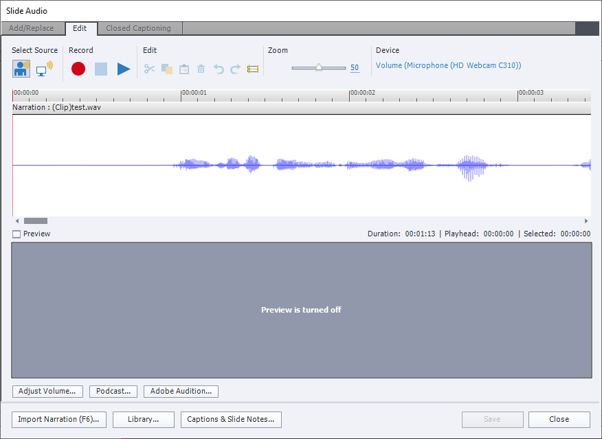 The Edit Slide Audio window in Captivate, showing Add/Replace, Edit, and Closed Caption tabs, with the Edit as the current tab. It has several buttons, view of audio wave, and preview of the slide.