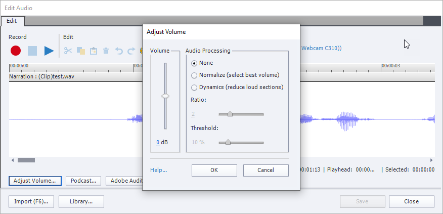 The Adjust Volume dialog box in front of Edit Audio window in Captivate. It has vertical volume slider on the left and Audio Processing options on the right. It also has OK and Cancel buttons, and blue Help link near the bottom.