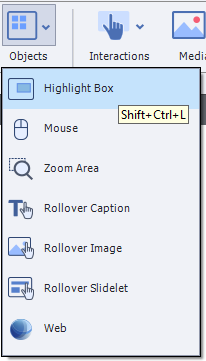 The Objects menu near the top of Captivate, a square with four smaller blue square at its upper-left region, is clicked showing its submenu: Highlight Box, Mouse, Zoom Area, Rollover Caption, Rollover Image, Rollover Slidelet, and Web. The Highlight Box is highlighted; its icon is a rectangle with a smaller blue rectangle near its upper-right corner. The shortcut keys Shift+Ctrl+L is also visible here as a tooltip.