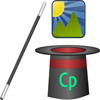 A top hat with CP Captivate logo on it, a magic wand, and an image icon emerging from the hat.