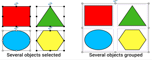 Four shapes selected: a rectangle, a triangle, an oval. They are marked by dashed rectangle and handles. The same objects are grouped on the right, with one larger dashed rectangle and handles for the whole group.