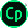 A circular button with Captivate CP logo on it. A mouse pointer hovers near but outside the circle on the upper right.