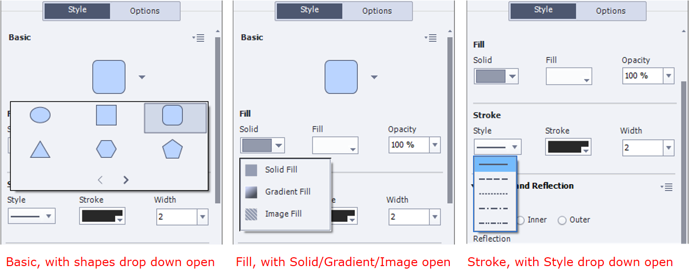 Shown in this screen capture at the different ways to customize shapes under the Properties - Style menu. The screen capture on the right shows the Basic with its drop-down menu open, showing an oval, a rectangle, a rounded rectangle, a triangle, a hexagon, and a pentagon, and small angle brackets representing forward and back to signify that there are more shapes than what is shown. The screen capture in the middle is similar to the one on the left, but this time, it's the Solid/Gradient/Image Fill drop-down that is open. The label on top of the drop-down is Solid, indicating that it is the active selection. Also shown on its right is the Fill option, and farther right is the drop-down Opacity. The current color of the Fill is dark gray, and the Opacity is set to 100%. The screen capture on the right shows the Style interface scrolled down slightly, making the Basic no longer visible. Here, the Style drop-down under Stroke is open, showing solid line, dashed line, dotted line, alternating dashed/dotted line, and alternating dashed/dotted line with two dots. On its right is the option Stroke, and farther right the drop down Width. The current color of the Stroke is white, and the Width is set to two pixels. The Shadow and Reflection options are also partly visible in the right screen capture under Stroke.