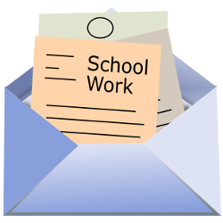 An open envelope containting three pieces of paper, the one in front explicitly labeled as school work.