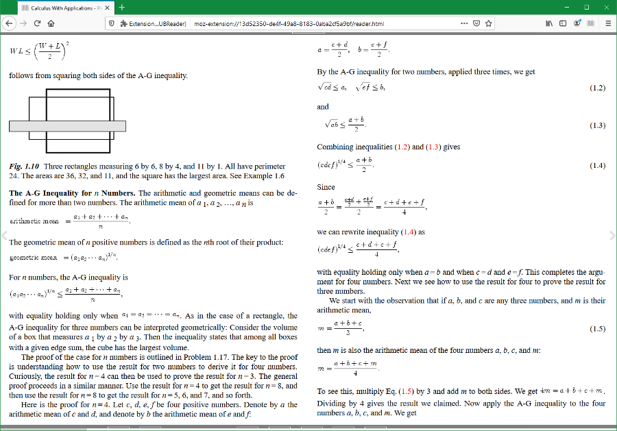 A calculus textbook opened using the EPUBReader add-on for Firefox.