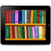 A collection of books, like shelves in a library, seen within the screen of a tablet computer.