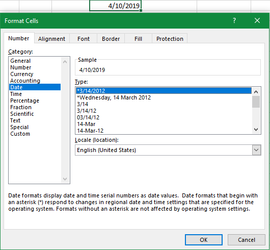 Screen capture of the Excel window shows the Format Cells popup. It has tabs for Number, Alignment, Font, Border, Fill, and Protection, with the Number tab being currently active. A category of number is shown on the left, with Date being highlighted. On the right are the different options for the date format. Two of the formats have asterisks, indicating that they respond to changes in regional date and time settings that are specified for the operating system.