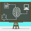 A chalk board with drawing of a brain at the center connected to a computer, a paper, and a piece of puzzle.