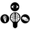 Light bulb with brain surrounded by ear, eye, and hand