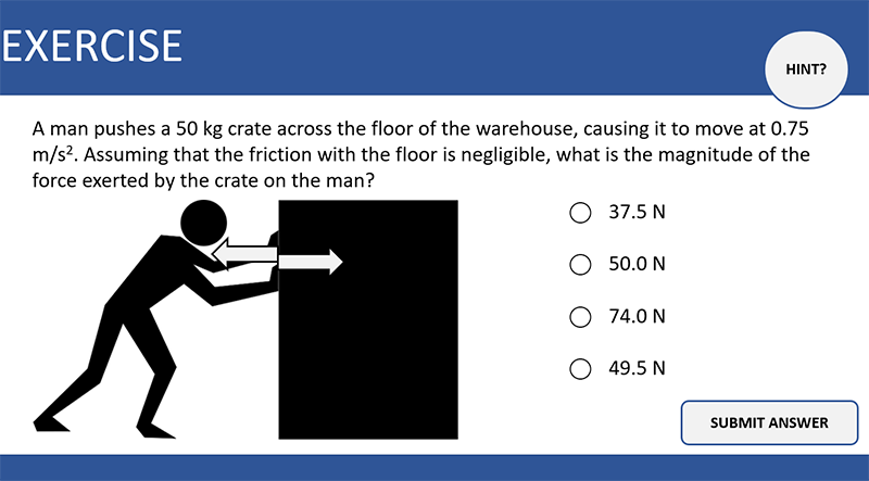 A slide with an exercise problem: A man pushes a 50 kg crate across the floor of the warehouse, causing it to move at 0.75 m/s/s. Assuming that the friction with the floor is negligible, what is the magnitude of the force exerted by the crate on the man? The picture is that of a man pushing a crate. There is a hint button at the upper-right corner.