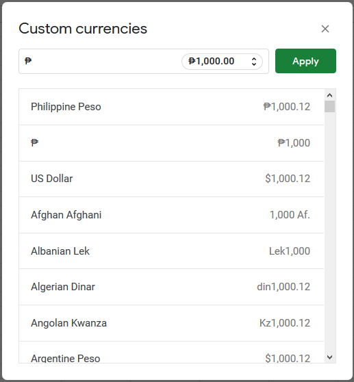 A light box that allow more formatting of currencies in Google Sheets. It allows you to change currency symbol and number of decimal digits.