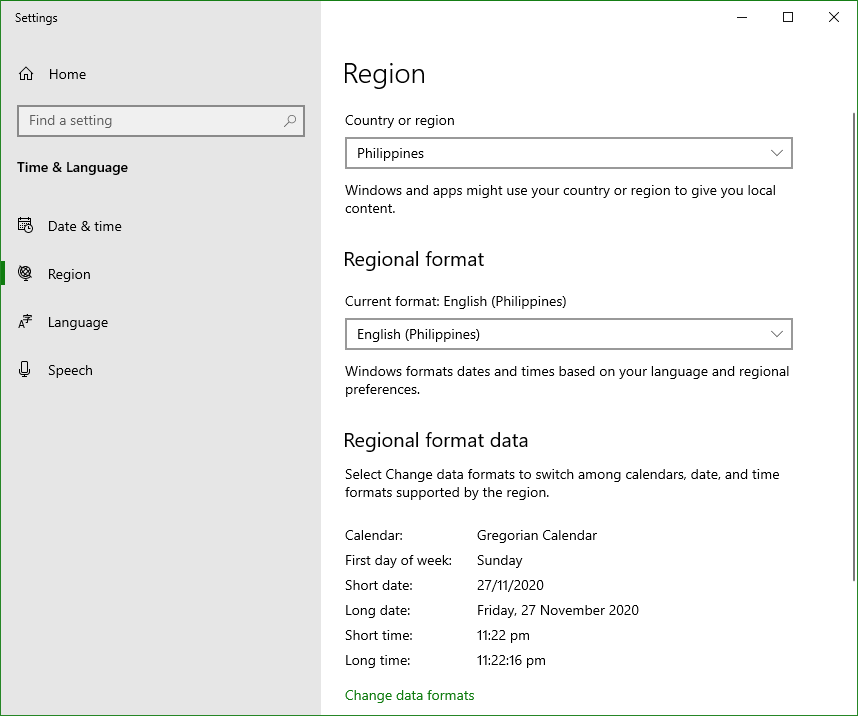 Screen capture of Windows 10 Region Settings.