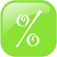 Large green icon with percent sign