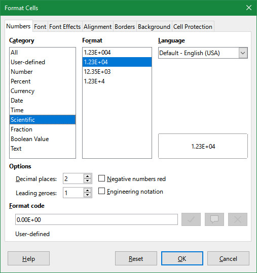 LibreOffice Calc Format Cell dialog box with Scientific selected from among the Category.