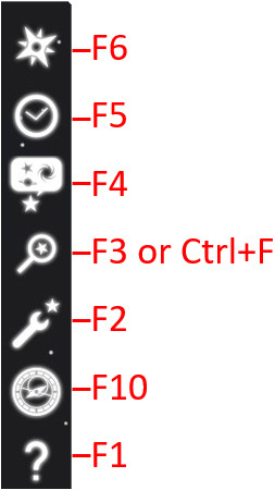 Vertical icons of stellarium: seven different icons and their corresponding F1 to F6 and F10 keys