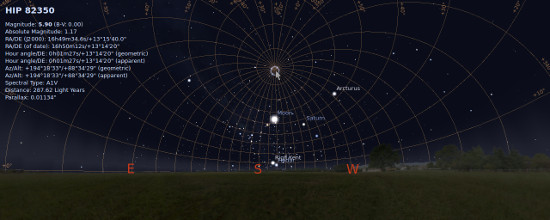 Clicking the center of azimuthal grid in Stellarium