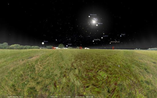 Stellarium screenshot with an almost plane level ground