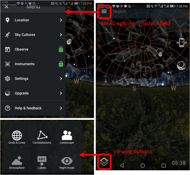 Stellarium user interface with the Menu options on the upper left and the Viewing options on the lower left enclosed in red rectangle. A red arrow from Menu options point to another screen capture showing the Menu options open. A second red arrow from the viewing options point to another screen capture where the Viewing options display. The search field is also visible on top.