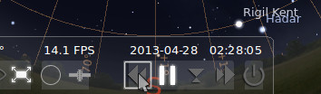 Clicking an icon to stop time in Stellarium