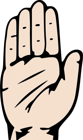 A hand with open-palm pointing up. All fingers except thumb are close together.