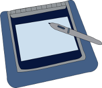 A blue pen tablet with stylus.