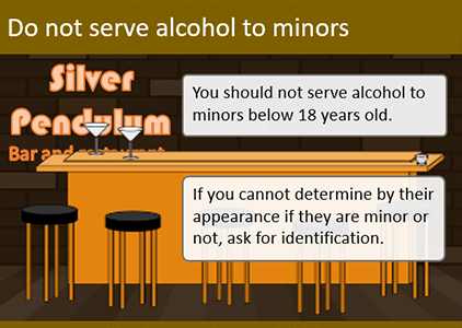 An elearning slide showing information about not serving drink to minors. The informational text boxes use sans serif font, but the name of the bar in neon lights uses a design font.