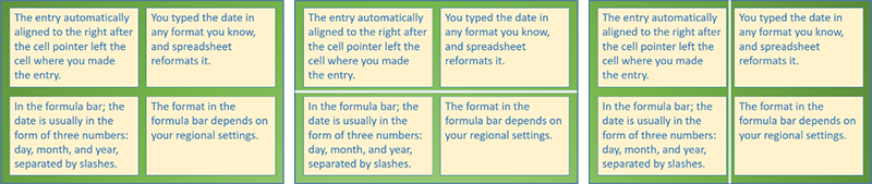 Left: four text boxes arranged in a 2x2 matrix. Center: the 2x2 text boxes with light blue horizontal divider separating the upper and lower text boxes. Right: the 2x2 text boxes with light blue vertical divider separating the left and right text boxes.