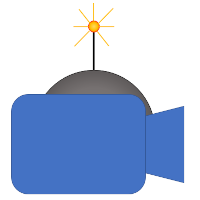 A blue camera with spherical bomb at the back.